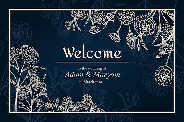 Invitación de banner de boda con flor de clavel de belleza de contorno
