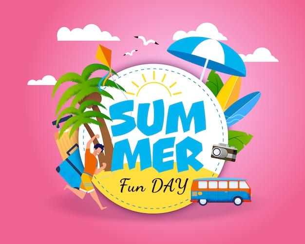 Invitación banner motivando para viajar. letras de día de diversión de verano en círculo sobre pink sky