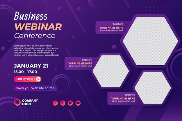 Invitación de banner de plantilla de seminario web empresarial