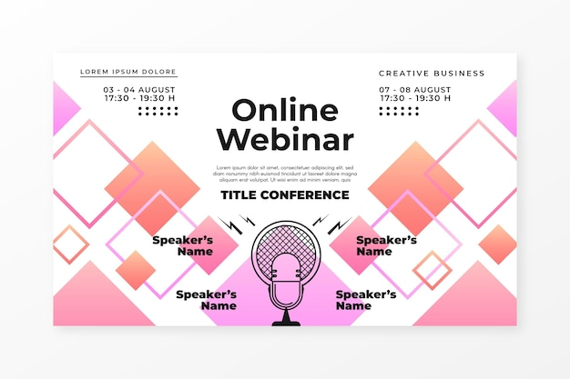 Invitación de banner de seminario web con formas rectangulares