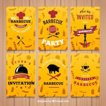 Invitación barbacoa, tarjetas de color amarillo