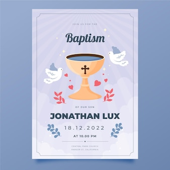 Invitación de bautismo plana orgánica