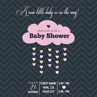 Invitación de bebé niña para baby shower