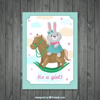 Invitación de bienvenida de bebé de bonito conejito con un caballo