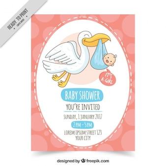 Invitación de bienvenida del bebé dibujada a mano con bebé y cigüeña