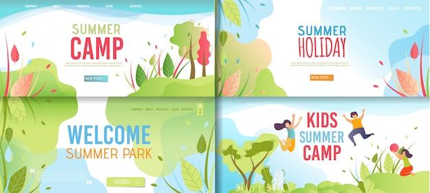 Invitación de bienvenida e invitación de banner de dibujos animados conjunto