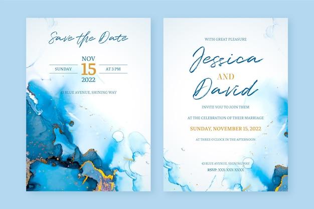 Invitación de boda abstracta de tinta de alcohol azul y oro
