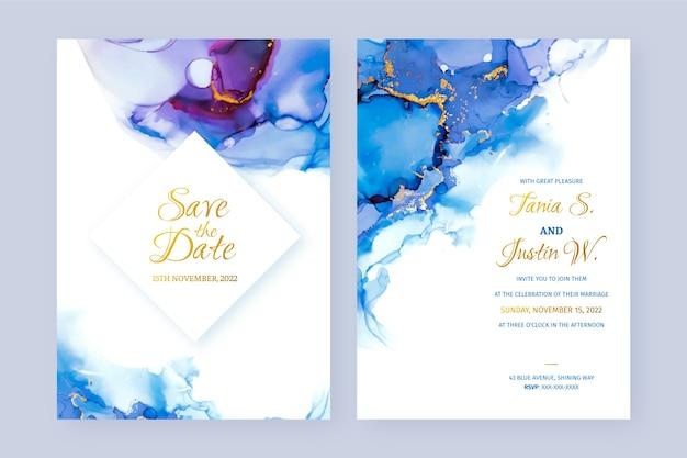 Invitación de boda abstracta de tinta de alcohol azul y púrpura