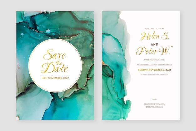 Invitación de boda abstracta de tinta de alcohol verde y dorado