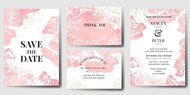 Invitación de boda acuarela abstracta rosa