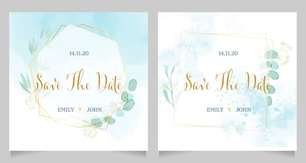 Invitación de boda acuarela azul con diseño de plantilla de corona de marco dorado