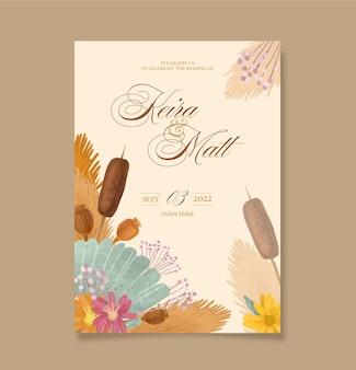 Invitación de boda acuarela boho