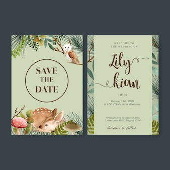 Invitación de boda acuarela con bosque de tonos fríos