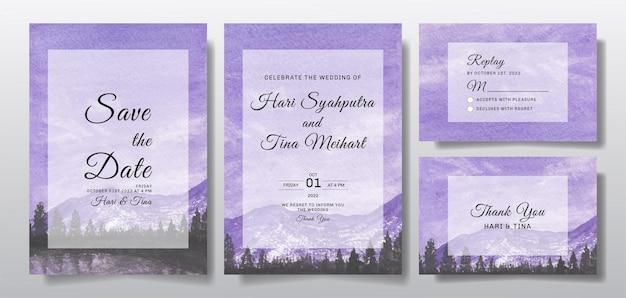 Invitación de boda en acuarela con cielo púrpura y paisaje de árboles