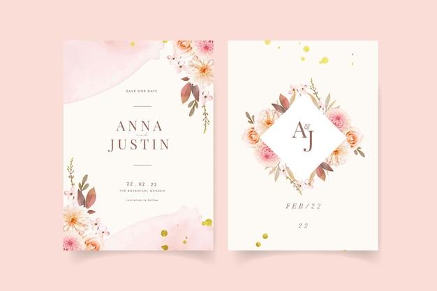 Invitación de boda con acuarela dalias y rosa.