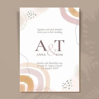 Invitación de boda acuarela dibujada a mano