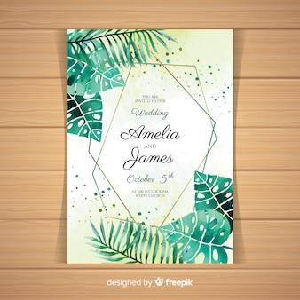 Invitación de boda en acuarela de estilo tropical