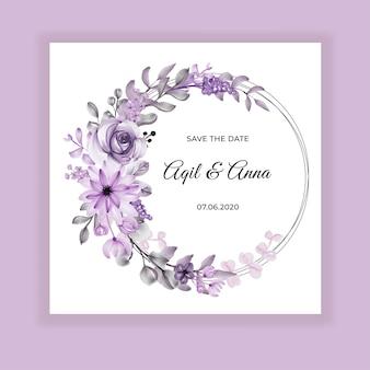 Invitación de boda acuarela flor violeta guirnalda