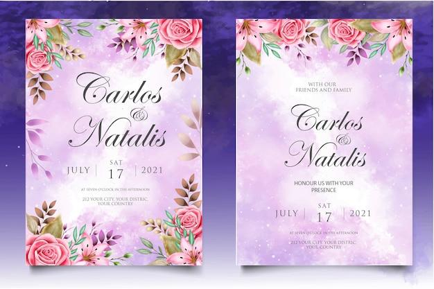 Invitación de boda acuarela floral y plantilla de tarjeta de hojas