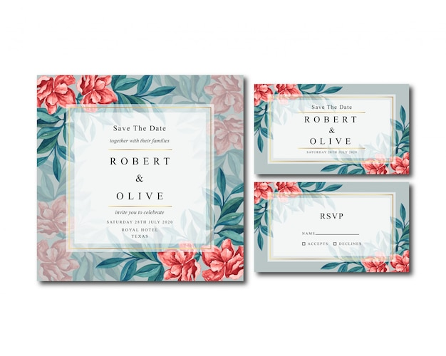 Invitación de boda acuarela floral vintage clásico