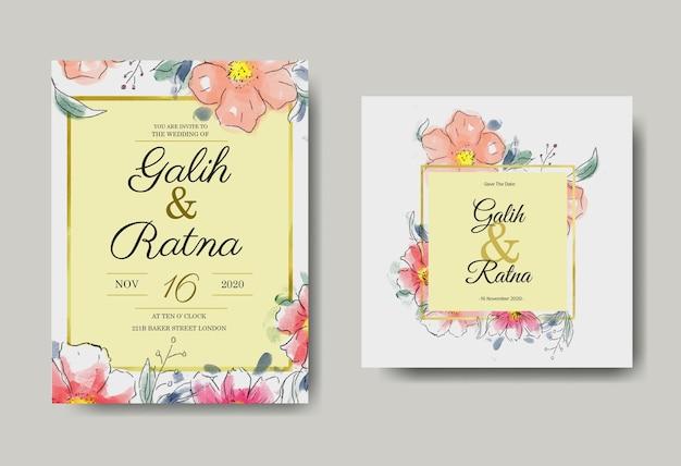 Invitación de boda acuarela floral