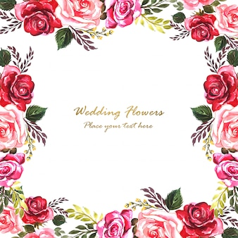 Invitación de boda acuarela flores decorativas plantilla de tarjeta