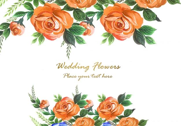 Invitación de boda acuarela flores decorativas tarjeta fondo