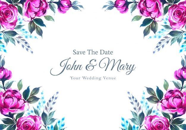 Invitación de boda acuarela flores decorativas tarjeta