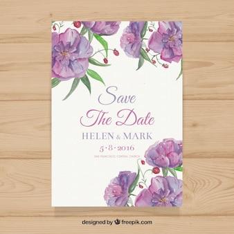 Invitación de boda de acuarela con flores moradas