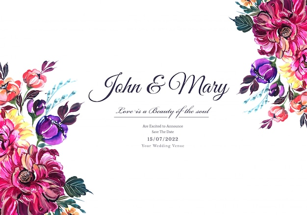 Invitación de boda acuarela flores tarjeta fondo