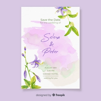 Invitación de boda acuarela con flores