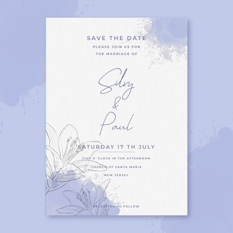 Invitación de boda en acuarela con flores