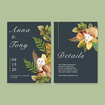 Invitación de boda acuarela con hermoso tema de otoño