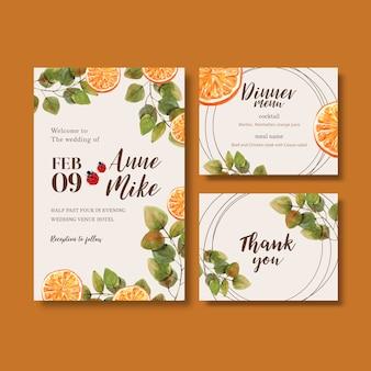 Invitación de boda acuarela con hermosos tonos naranjas brillantes