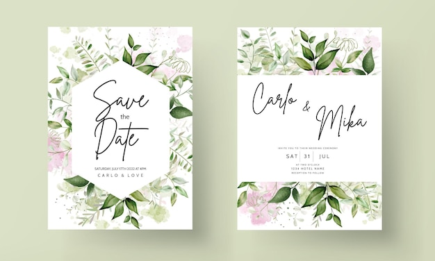 Invitación de boda de acuarela de hojas elegantes con fondo de acuarela splash