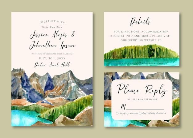 Invitación de boda en acuarela de lago azul y montañas y bosque de pinos