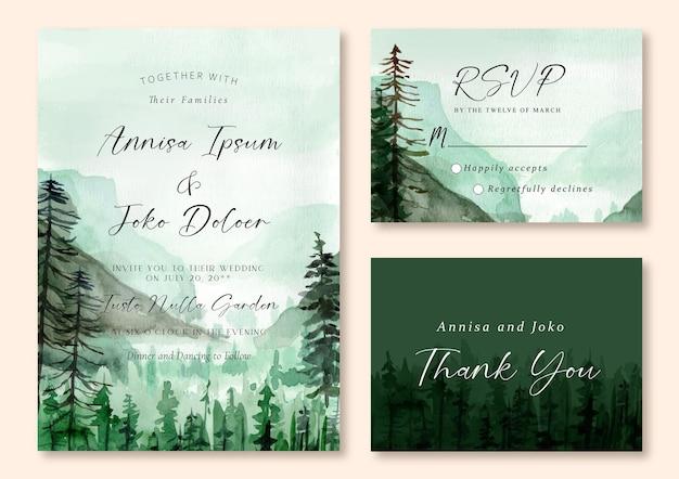 Invitación de boda en acuarela de montañas brumosas y bosque de pinos