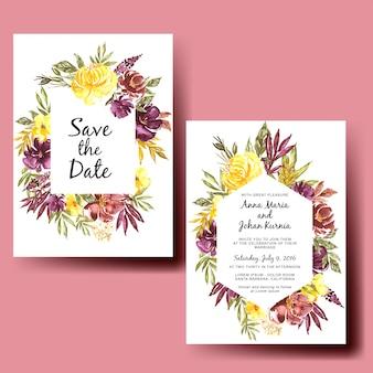 Invitación de boda acuarela otoño floral flojo
