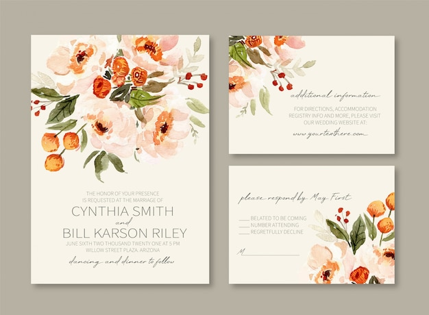 Invitación de boda de acuarela de peonías vintage