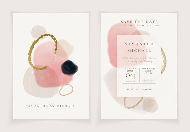 Invitación de boda acuarela pintada a mano