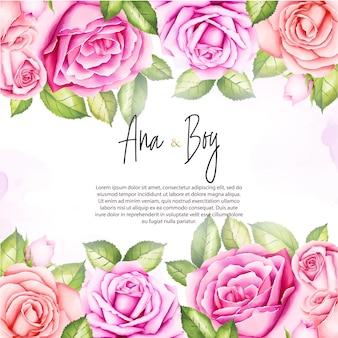 Invitación de boda con acuarela rosa flores