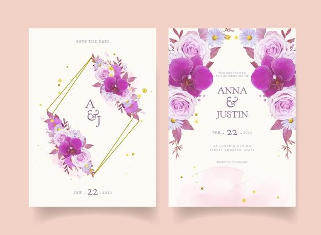 Invitación de boda con acuarela rosa morada y orquídea