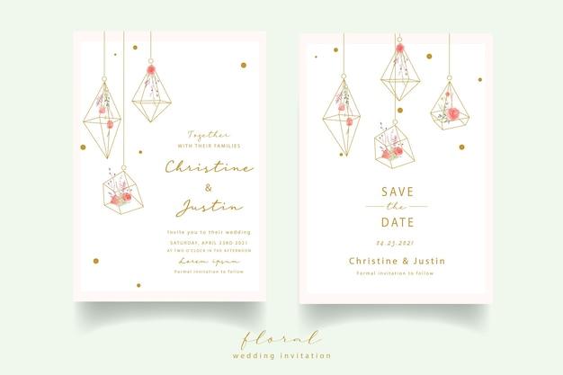 Invitación de boda acuarela rosa roja