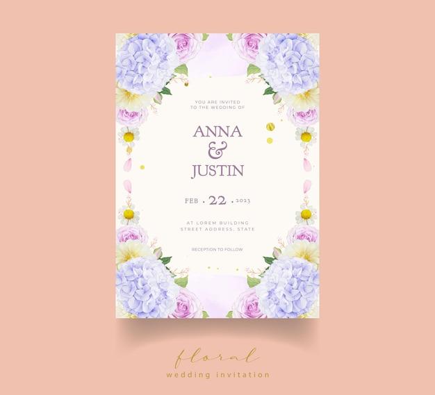 Invitación de boda con acuarela rosas moradas dalia y flor de hortensia