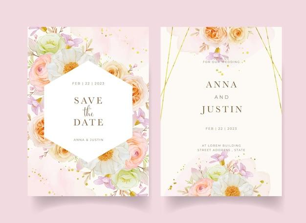 Invitación de boda con acuarela rosas peonía y flor de ranúnculo