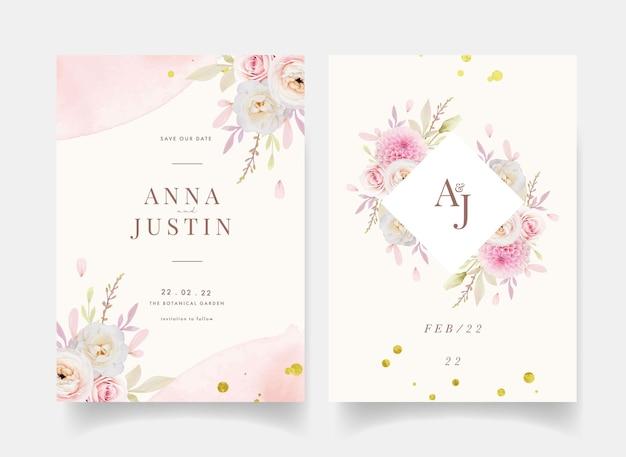 Invitación de boda con acuarela rosas ranunculus y dalia