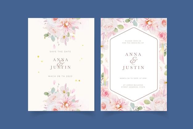 Invitación de boda con acuarela rosas rosadas dalia y flor de lirio