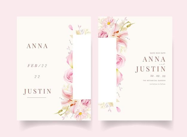 Invitación de boda con acuarela rosas rosadas lirio y lirio de cala