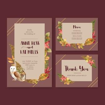 Invitación de boda acuarela con tema de otoño