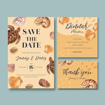 Invitación de boda acuarela con tortuga y conchas, ilustración beige